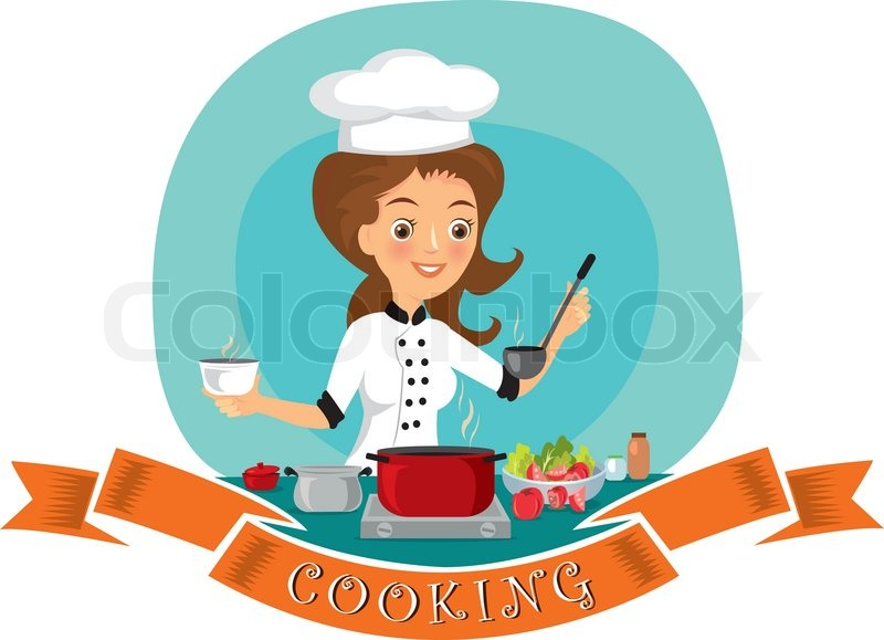 Woman cooking | Stock Vector | Colourbox