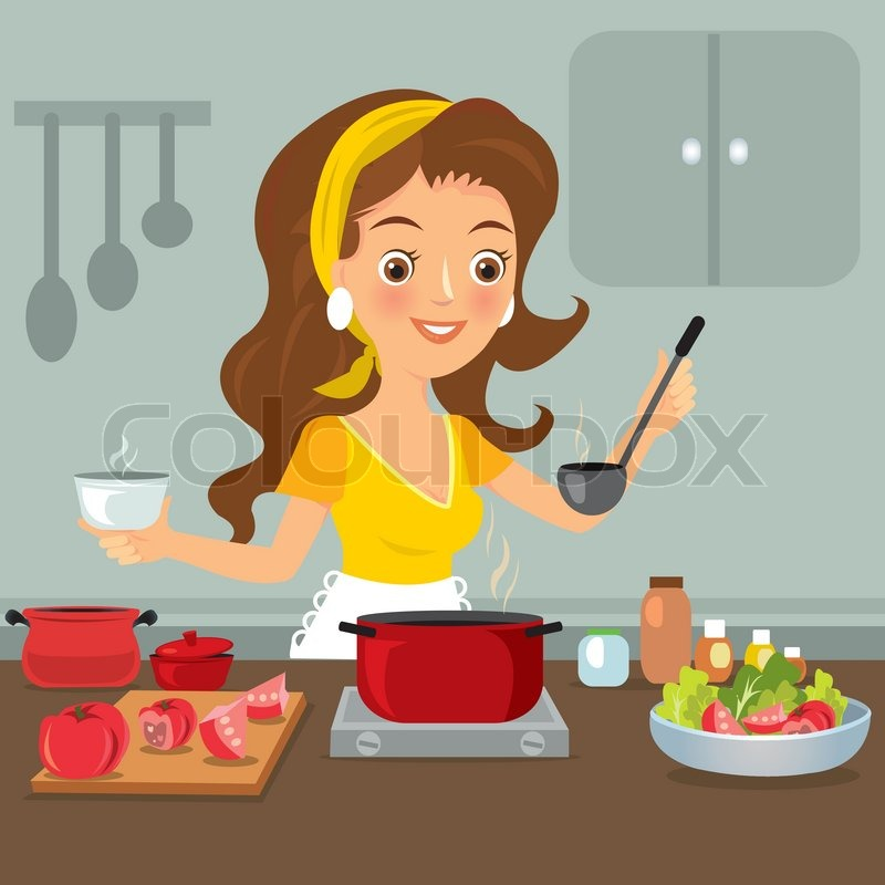 Woman in kitchen | Stock Vector | Colourbox