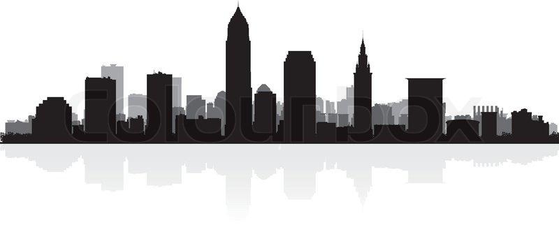Cleveland Usa City Skyline Silhouette Vector Illustration