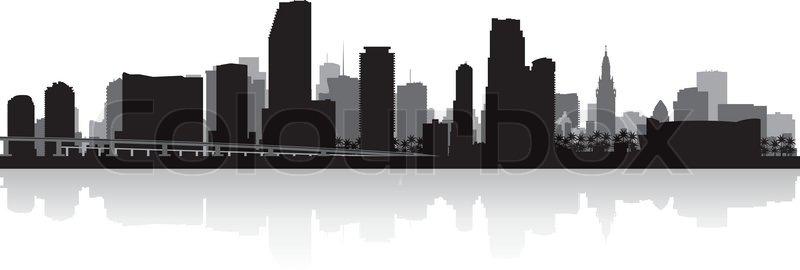 miami usa city skyline silhouette vector illustration