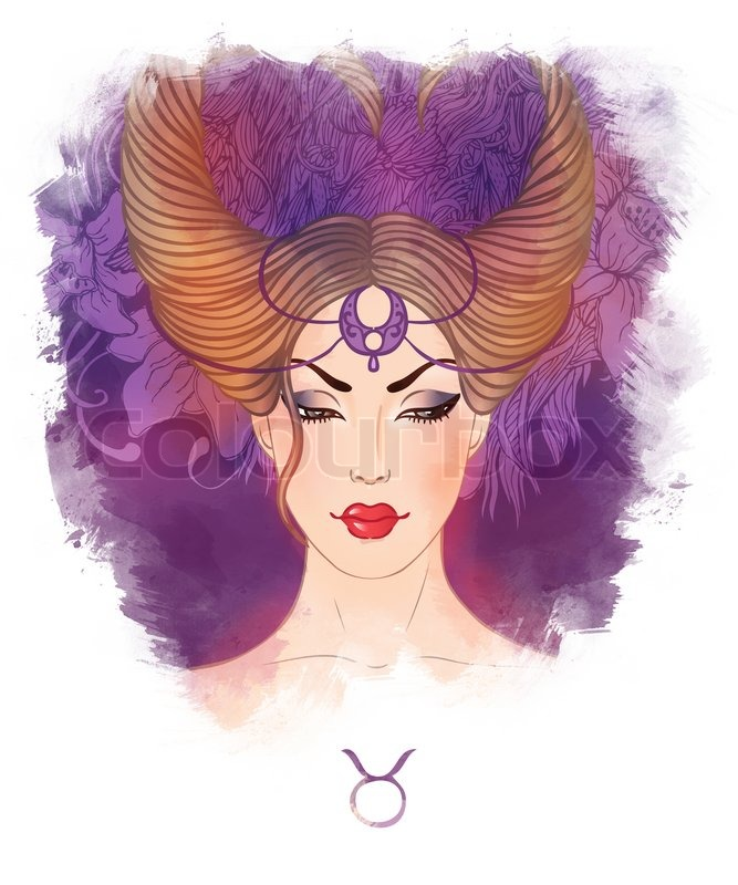 Of taurus astrological sign as a beautiful girl watercolor art