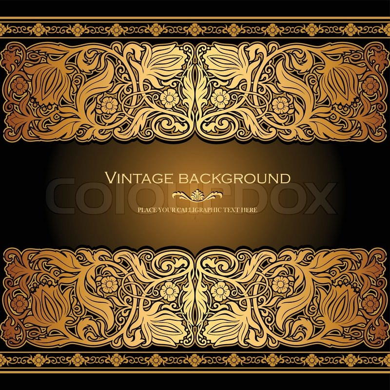 Vintage baroque floral golden ornament vector stock vector image - Vintage Background Antique Style Invitation And Greeting