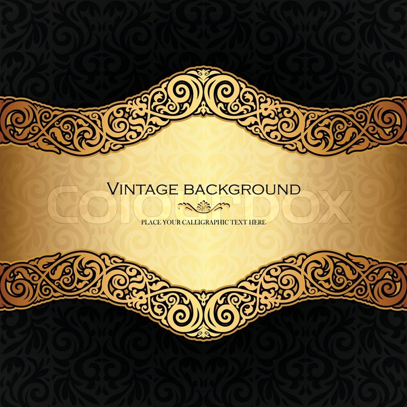 Vintage Background Antique Style Invitation And Greeting Card Victorian Golden Ornament Baroque Frame Beautiful Retro Brochure Ornate Cover Page Label Ornamental Pattern Template For Design Vector 7196762 on Victorian Ornamental Border Brown