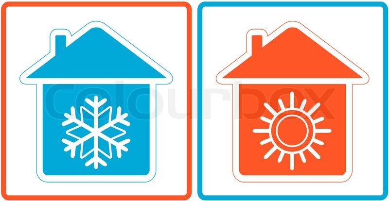 klimaanlage symbol warm und kalt im haus vektorgrafik colourbox. Black Bedroom Furniture Sets. Home Design Ideas