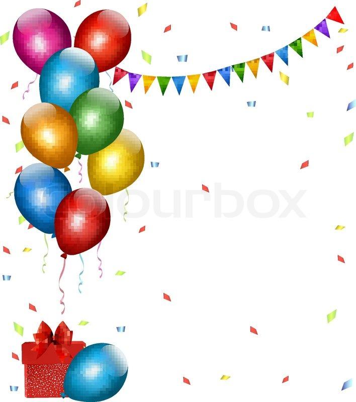 holiday hintergrund mit bunten luftballons und geschenk boxen vektorgrafik colourbox. Black Bedroom Furniture Sets. Home Design Ideas