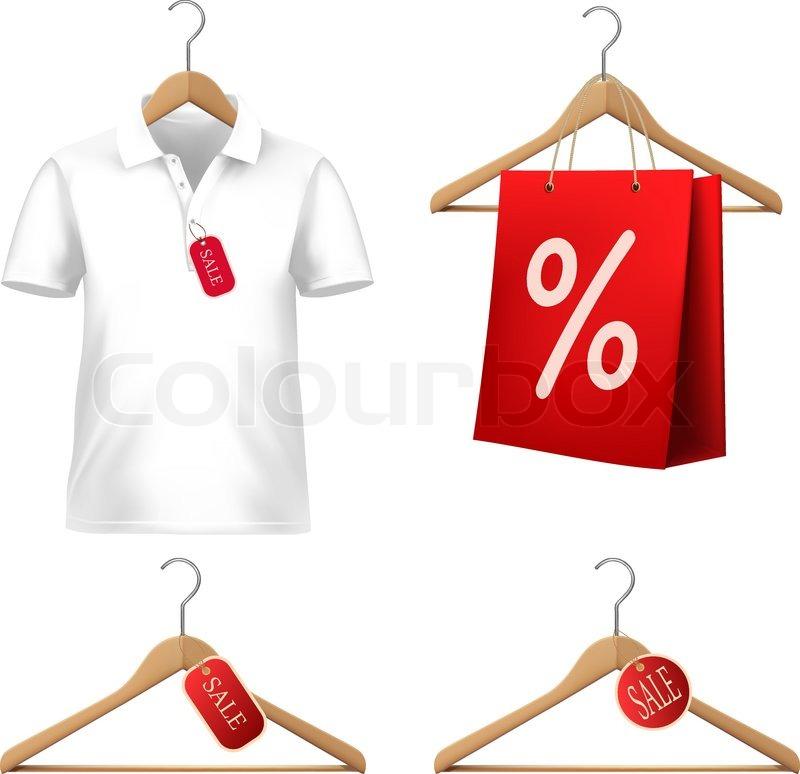 kleidung verkaufen mit kleiderb geln und preisschildern vektorgrafik colourbox. Black Bedroom Furniture Sets. Home Design Ideas