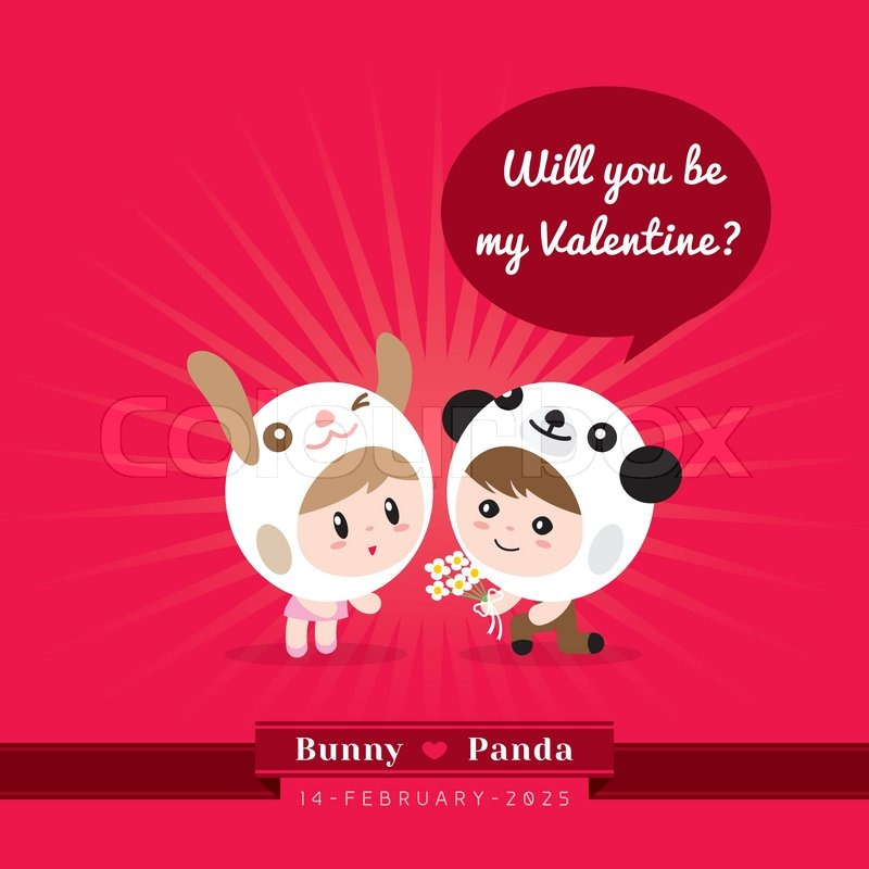 Schön Cute Kawaii Characters With Valentineu0027s Concept Illustration | Stock Vector  | Colourbox