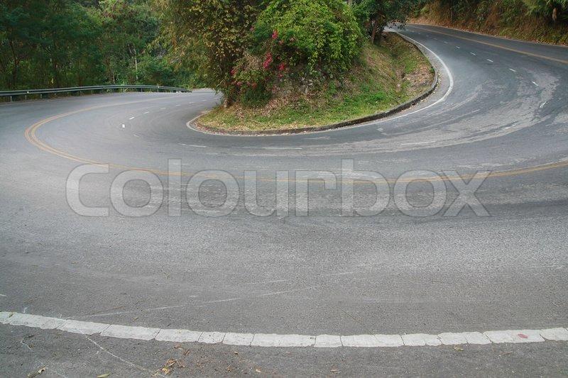 Sharp curve road, stock photo