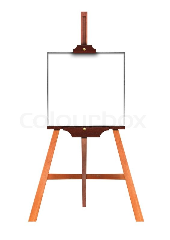 blank art board wooden easel front view isolated on white stock