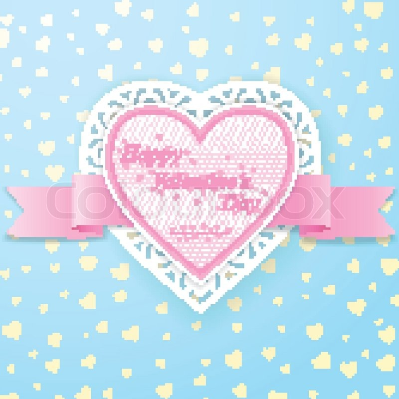 Rosa Papier Herz mit Schleife und Spitze auf blauem ...