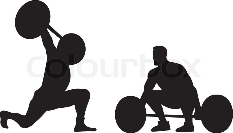 illustration of weight lifters lifting weights silhouette done in retro style vector