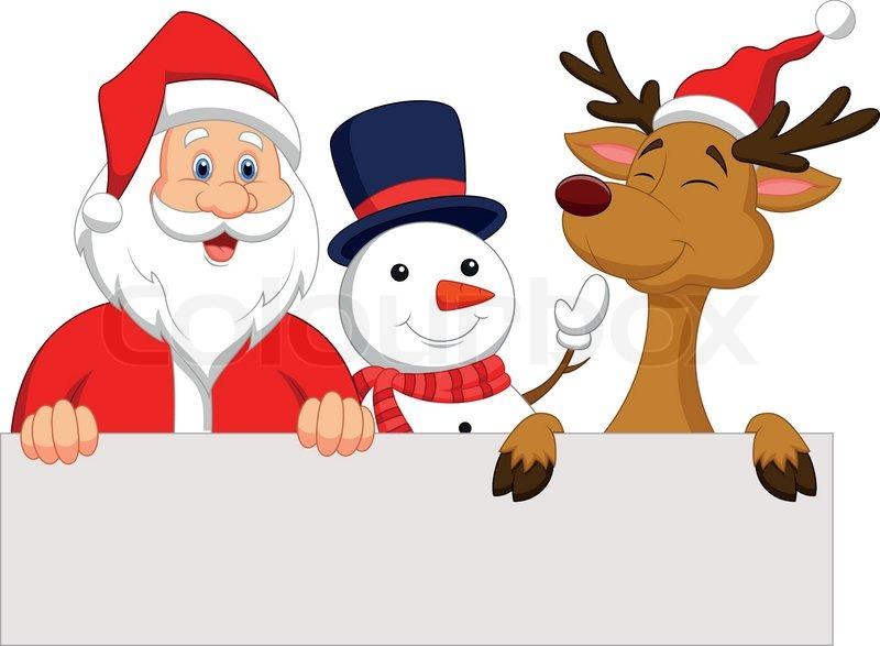 stock vector of vector illustration of cartoon santa claus reindeer and snowman with blank - Snowman Santa