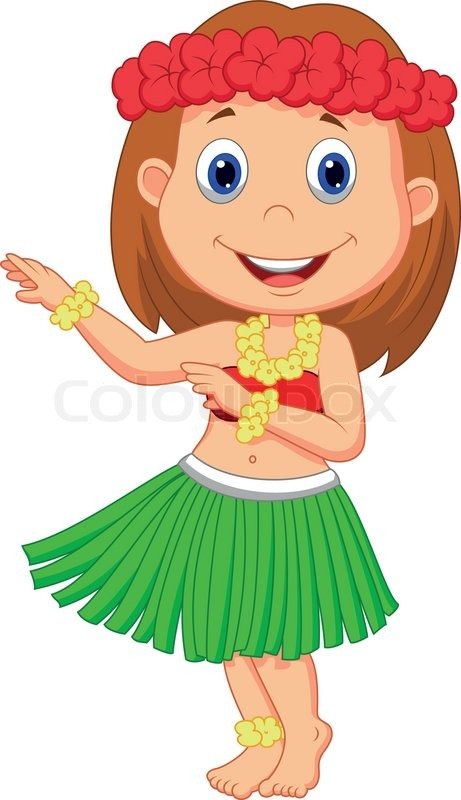 Vector illustration of Little Hula Girl cartoon | Vector ...