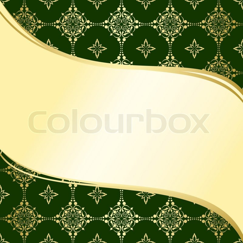 Abstract wavy green and gold background with tracery, stock photo