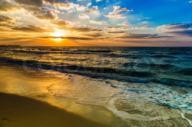 Dubai Sea And Beach Beautiful Sunset Stock Photo Colourbox