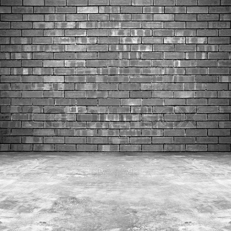 Old Brick Wall And Concrete Floor Background Stock Photo