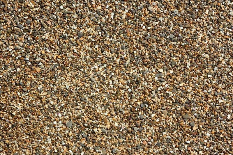 Fragment of beach pebble with small colored pebbles, stones and shells detail close-up in bright sunlight, stock photo