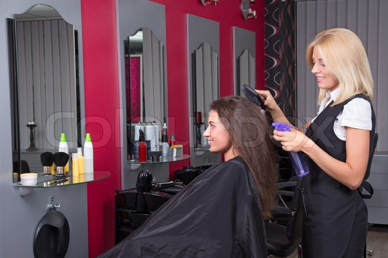 Young Beautiful Female Hairdresser Working In Beauty Salon