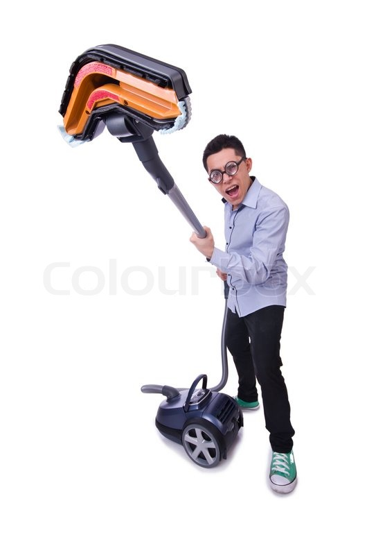 Funny Man With Vacuum Cleaner On White Stock Photo