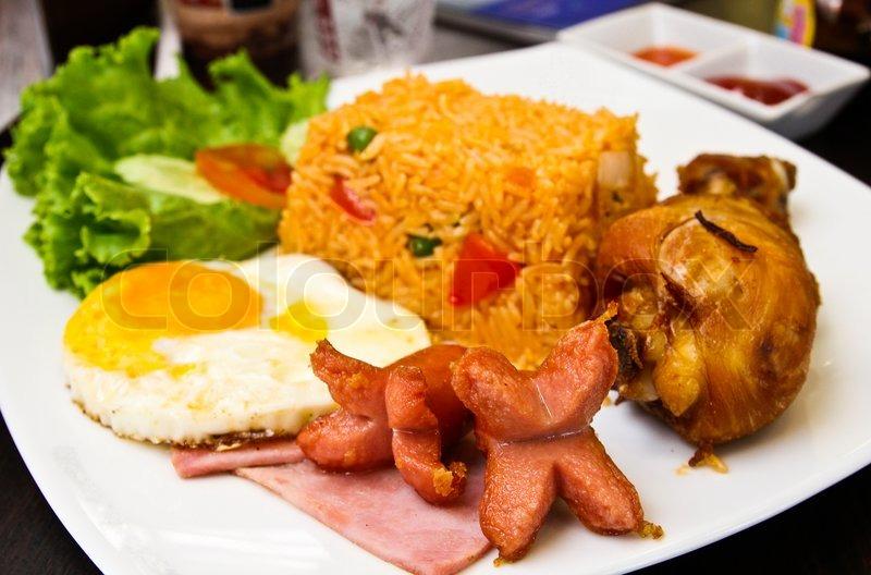 Amerikansk Stil Morgenmad Sæt Stegte Stock Foto Colourbox