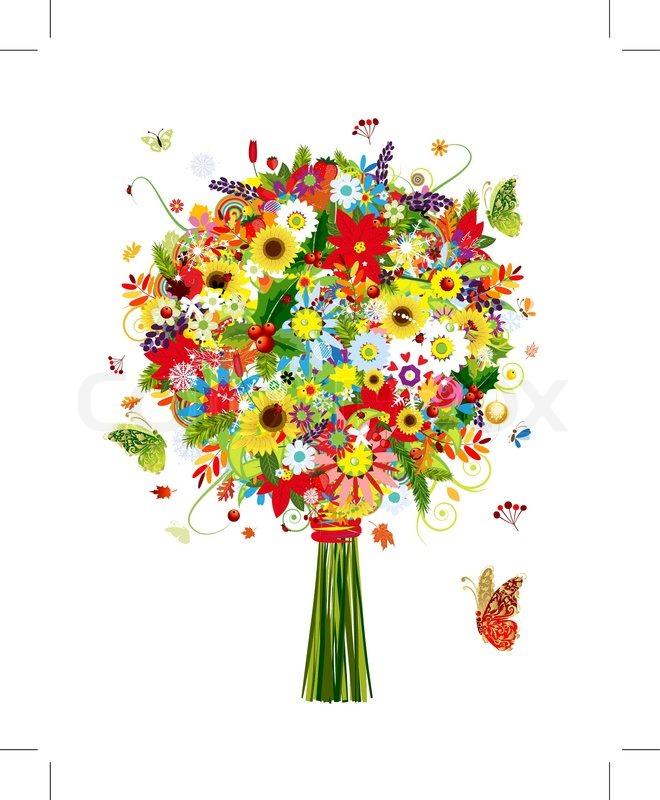 vier jahreszeiten bouquet mit blatt und blumen f r ihr design vektorgrafik colourbox. Black Bedroom Furniture Sets. Home Design Ideas