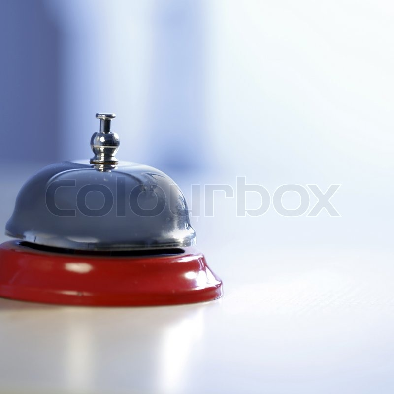 Close up photo of a bell in a hotel, stock photo