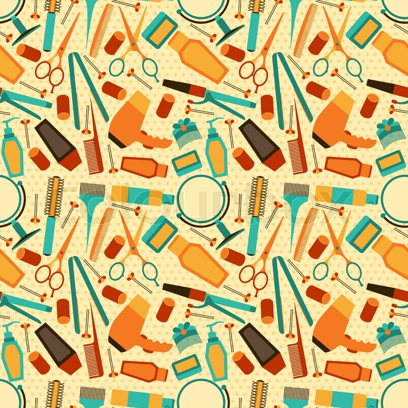 Hairdressing tools seamless pattern in retro style ...