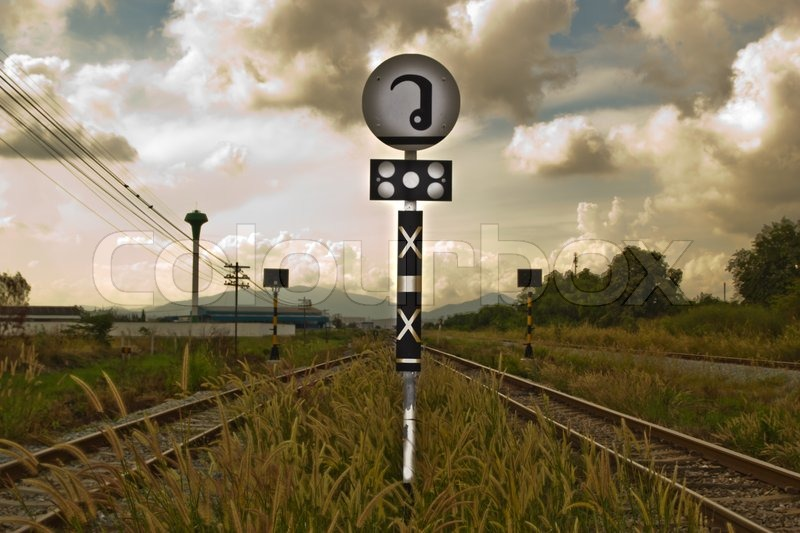 Railroad Level Crossing Sign without     | Stock image
