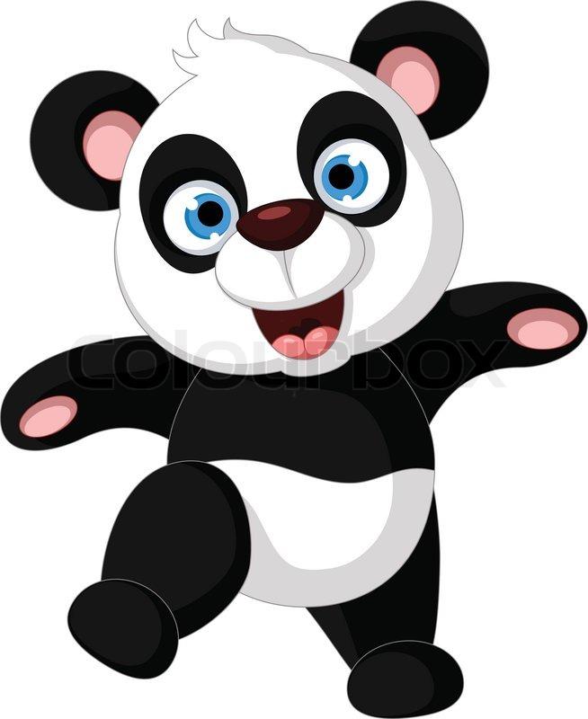 panda cartoon dancing stock vector colourbox bear clip art black and white no outline teddy bear clipart black and white