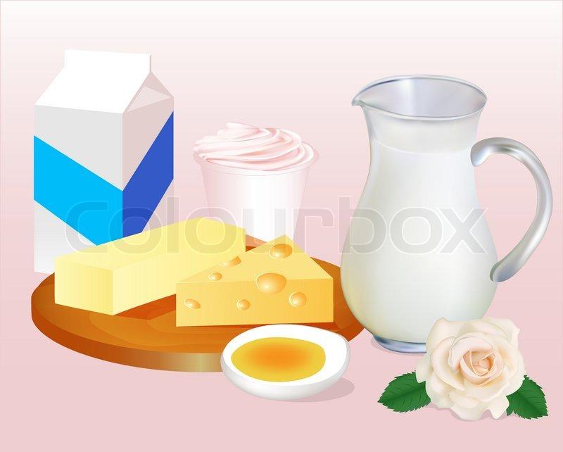 Baggrund Med Mælk Smør Ost, æg Og Yoghurt