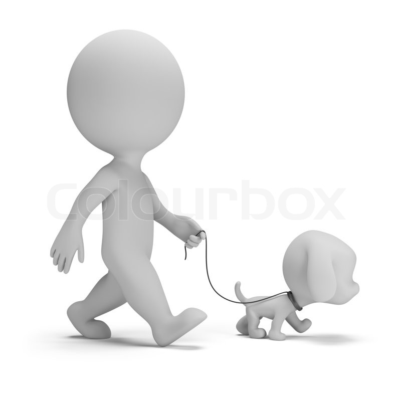 3d Small Man Walking A Little Puppy 3d Image White