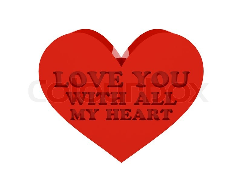 Big Red Heart Phrase LOVE YOU WITH ALL MY HEART Cutout