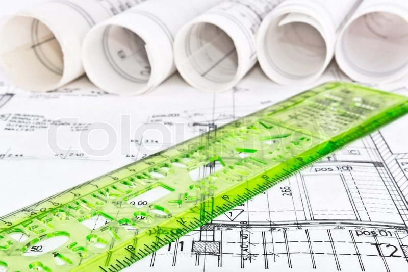 Architectural project blueprint, stock photo