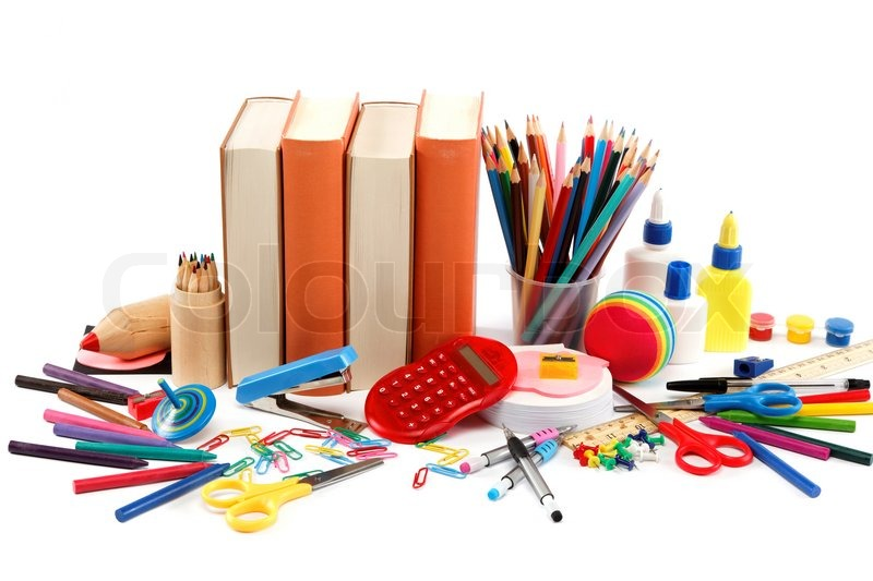 school and office supplies on white