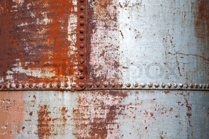 Old Rusted Metal Background Texture With Rivets Stock