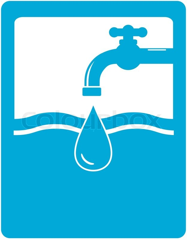 Drinking Water Faucet >> Drinking water symbol with faucet, tap and water drop | Stock Vector | Colourbox