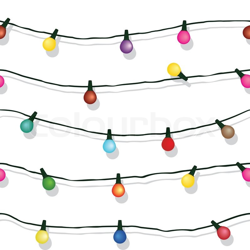 Christmas String Lights Background : Seamless string of Christmas lights on garland vector background isolated on white Stock ...