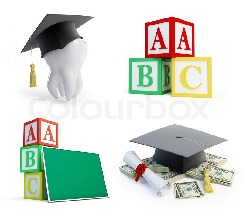 School Set Graduation Cap Tooth On A Stock Photo