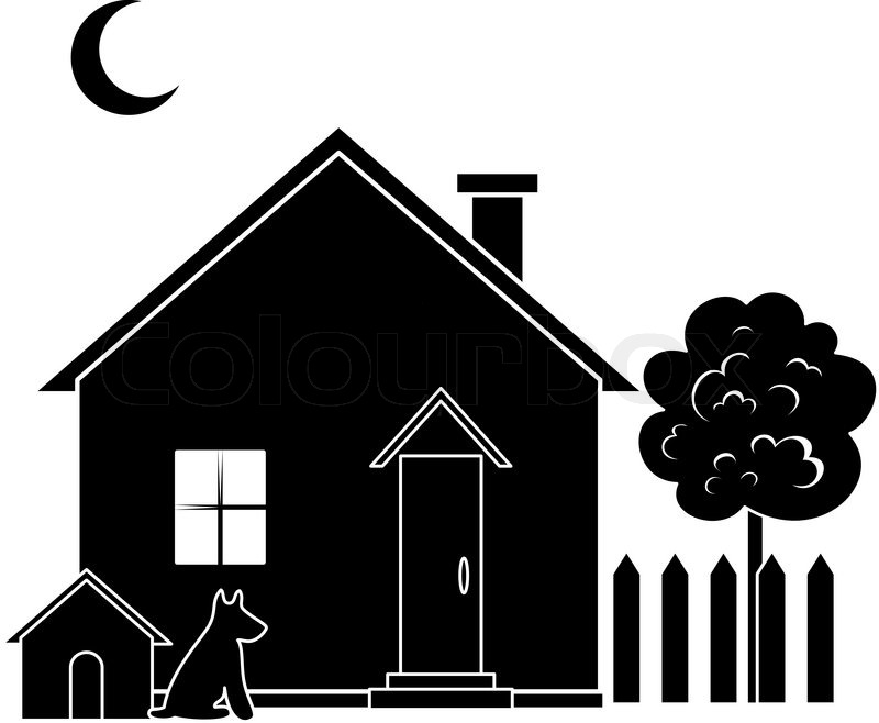 House With Dog Kennel And Tree Black Silhouette Vector