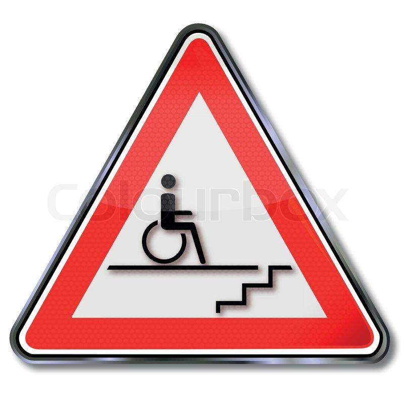 Schild behinderung f r rollstuhlfahrer durch treppen - Treppe rampe fur rollstuhl ...