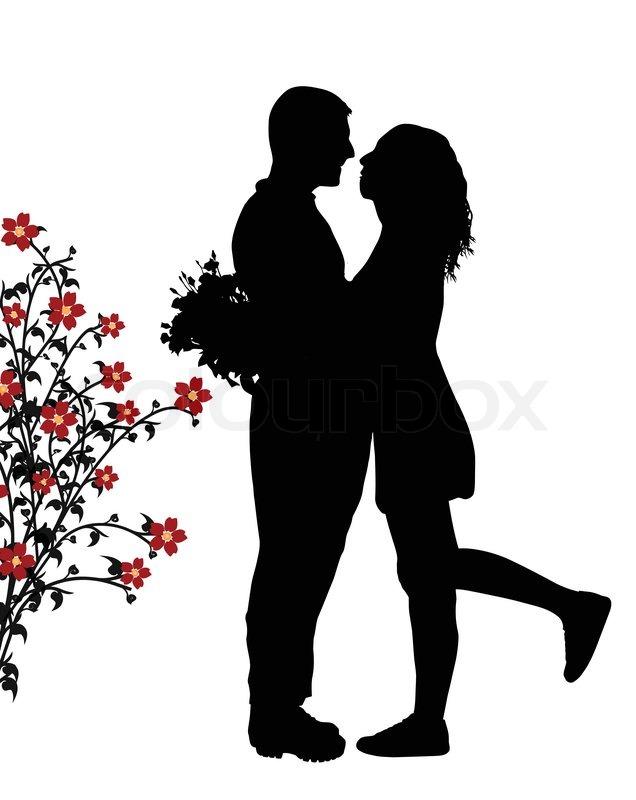 Romantic Couple Silhouette Stock Vector Colourbox