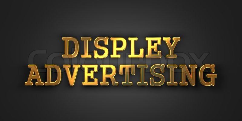 Display Advertising. Gold Text on Dark Background. Business Concept. 3D Render, stock photo