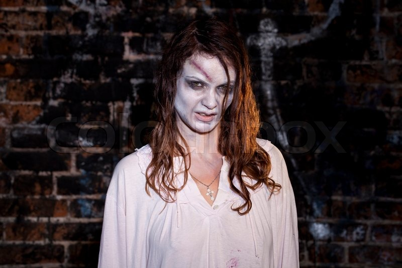 Bloody And Scary Looking Zombie Woman  Stock Photo -9344