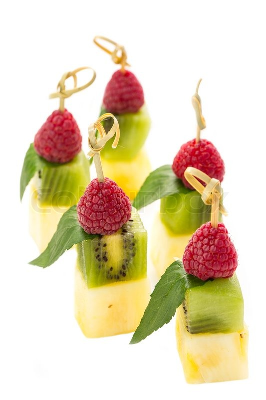 plate of fruit dessert canape stock photo colourbox