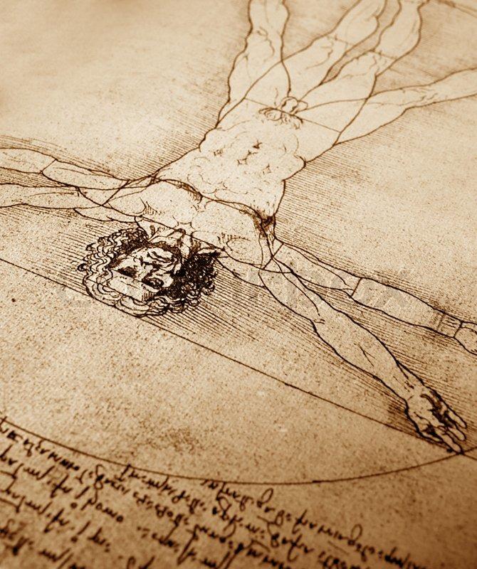 Foto von der vitruvianische Mensch von Leonardo Da Vinci von 1492 ...