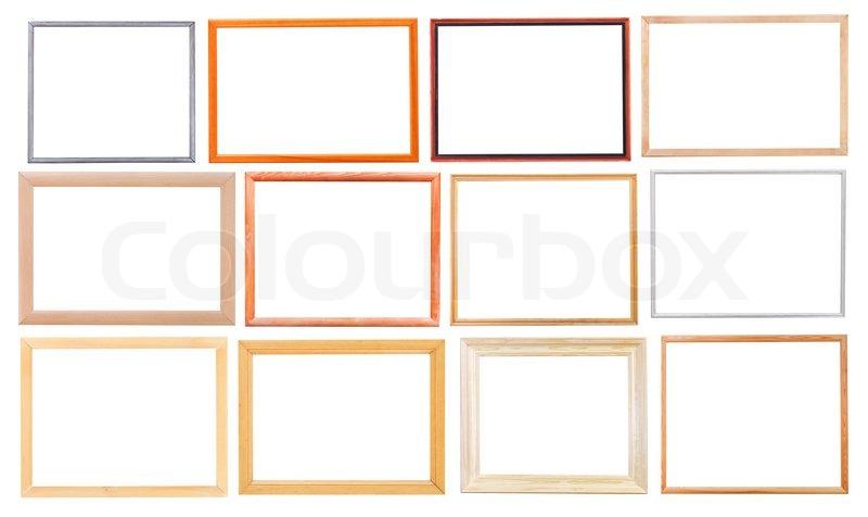 satz von einfachen modernen holz bilderrahmen mit ausschnitt leinwand isoliert auf wei em. Black Bedroom Furniture Sets. Home Design Ideas