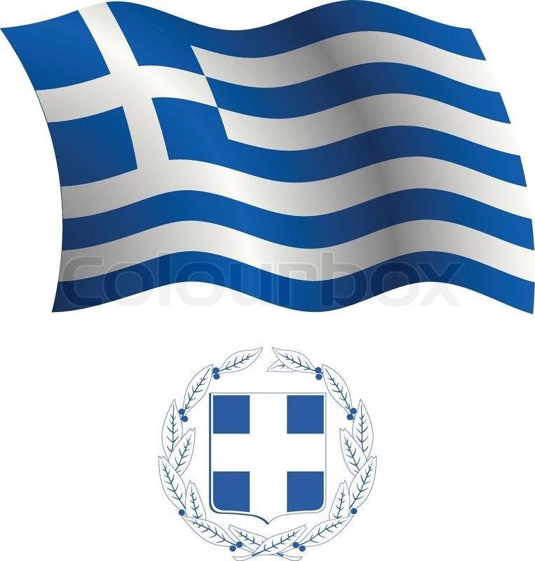 Griechenland wellig Flagge und Wappen  Vektorgrafik  Colourbox