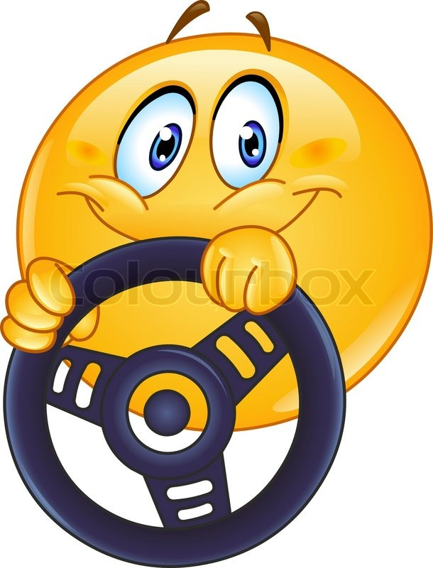 Driving Emoticon Holding A Steering Wheel Stock Vector