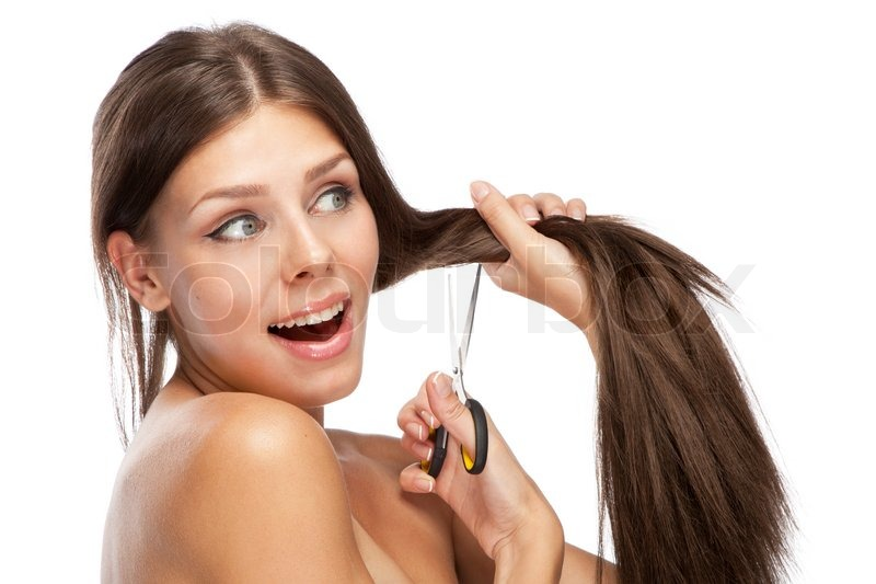 Beautiful Hair Cutting : Beautiful young woman cutting her hair, white background Stock Photo ...