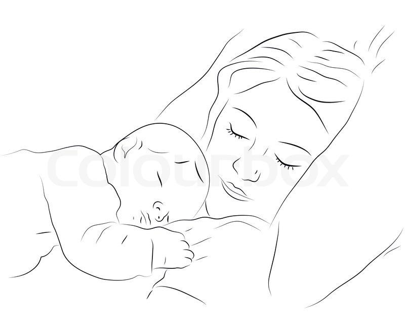 Baby sleeping outline